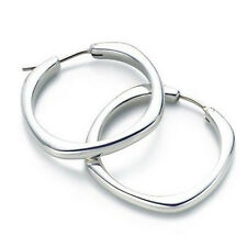Silver 925 Polish Elegant & Stylish Square Hoops Medium Size FE23