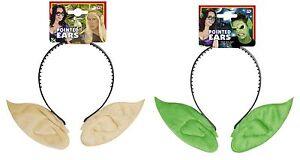 POINTED EARS GREEN/FLESH ALIEN/ELF/PIXIE/HOBBIT/FAIRYTALE FANCY DRESS
