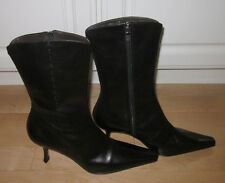Donald J Pliner Wms Black Leather Baby Calf  Boots Spi  9.5  *SHARP MUST C*