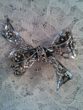 Sterling Silver 925 DANECRAFT Bow Flowers Brooch Signed Pin  #12