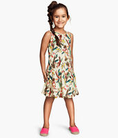 GIRLS BEIGE DRESS WITH COLOURFUL BIRD PRINT IN AGE 2-4 AND 6-8 YEARS BNWT