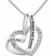 Jewelry Sterling Love heart Necklace Silver I love you for always and forever