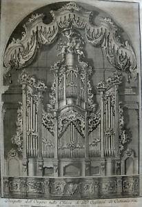Antonio Zacco. Large engraving, The Organ in Church Cassinesi in Catania 1786