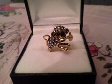 GOLD FILLED SILVER 925 MONKEY WITH BANANA CZ RING