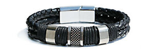 Men's Punk Stainless Steel Leather Clasp Cuff Braided Wristband Bangle Bracelets