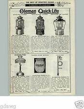 1929 PAPER AD 2 PG Coleman Quick Lite Lantern Lamp Camp Stove Built In Pump