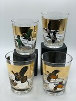 Set of 4 Vintage Les Kouba  MCM Various Birds Low Ball Cocktail Glasses