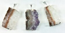 Electroplated silver trim Amethyst slice pendant - One pendant