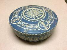 Tin Round Blue White Embossed Made in Holland Decorative Collectable Nice!