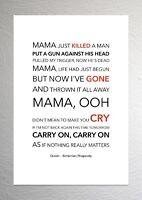 Queen - Bohemian Rhapsody - Colour Print Poster Art