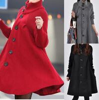 Women's Warm Knitted Loose Sweater Dress Cardigan Turtleneck Jacket Cloak Coat