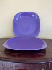 Purple Plastic Square Dinner Plates with Round Edges - set of 2