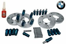 4 Pc BMW 12 MM Thick Wheel Spacers & Stud Conversion W/ Blue Racing Lug Nuts