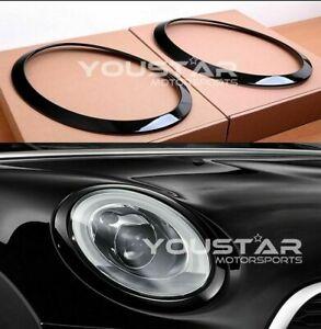 DELUXE x2 GLOSS PIANO Black Line Headlight Trims for MINI Cooper S F55 F56 F57