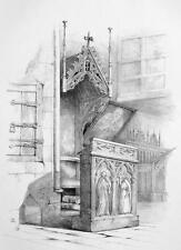 GERMANY Episcopal Pulpit in Church at Moelln - Litho Antique Print