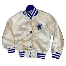 Vtg Dallas Cowboys Cheerleader Girl's Jacket S 4/5 White Blue Nylon Well Worn