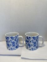 2 Ralph Lauren Porcelain White Blue Floral Flowers Coffee Mug Cups 12oz Each