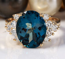 6.00 CTW Natural London Blue Topaz and Diamonds in 14K Solid Yellow Gold Ring