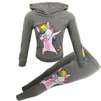 New Girls Kids Rainbow Unicorn Outfit Top Leggings Set Grey Age 7 8 9 10 11 12