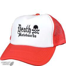 "DEATH SKATEBOARDS ""Old English"" Trucker Mesh Cap Skateboard RED & White  OSFA"