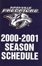 2000-01 NHL HOCKEY SCHEDULE - NASHVILLE PREDATORS