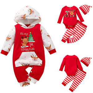 Infant Baby Boy Girl Christmas Xmas Cartoon Print Rompers Jumpsuit Pants Outfits
