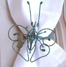 New listing Pottery Barn Set 4 Butterfly Wire Napkin Rings Patina Green Ring New