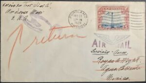US Airmail Cover Portland Oregon to Aguascalientes Mexico 1929 with  US Sc c11