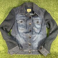 UK10 Womens Bandolera Denim Jeans Jacket - Navy Blue Designer - RRP£89