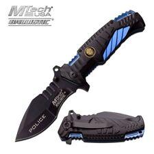 Spring-Assisted Folding Pocket Knife Mtech Black Blue Law Enforcement Tactical