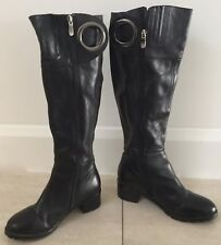 "Pre-owned Black Leather SARRIER ""O"" Ring Trim Knee High Block Heel Boots Size 6"