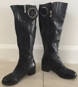 "Beautiful Black Leather SARRIER ""O"" Ring Trim Knee High Block Heel Boots Size 6"