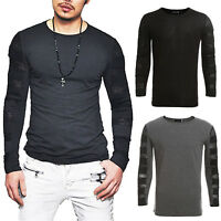 Mens Cotton Long Sleeve T Shirt Casual Plain Tee Sport Muscle Tops Blouse Shirts
