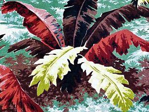 SALE! Rainforest Jungle Deco Barkcloth Vintage Fabric Drape Curtain Miami Beach