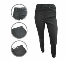 Womens New Look Skinny Jeggings Faux Leather Coated Jeans Black Size 6 to 18