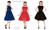 Lindy Bop Retro Vintage 50s Audrey Black Red Blue Cotton Swing Dress 8/26