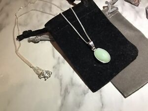 925 Sterling Silver Amazonite Cabochon Pendant Necklace With Gift Pouch