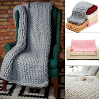 Large Handmade Chunky Knitted Blanket Thick Yarn Merino Throw Bed Sofa Decor US