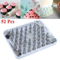52pcs Pastry Flower Icing Piping Tips Nozzle Cake Baking Decorating Tool Set Kit