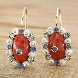 14 k ct Yellow GOLD Natural Red CORAL Blue SAPPHIRE DIAMOND PEARL Drop Earrings