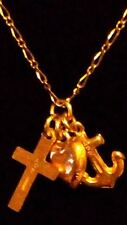 "LOVELY 9ct Yellow Gold Heart, Anchor & Cross Pendant on 17"" Thin Figaro Chain***"