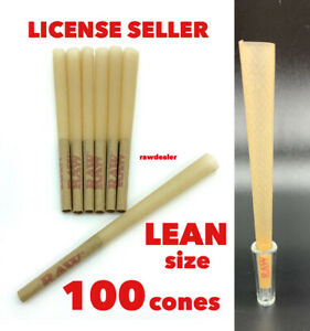 raw classic LEAN size pre-rolled cone w filter(100 pack)+GLASS CONE HOLDER TIP