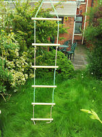 NEW WOODEN ROPE LADDER + HOOK 6 RUNGS SWING