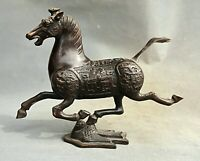 """11.2""""Bronze dynastie chinoise des animaux Cheval Stepping Flying Swallow Statue"""