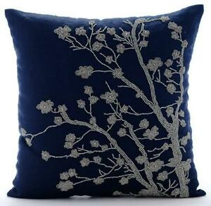 """20""""x20"""" Navy Blue Cushion Pillow Cover Luxury, Linen Beaded - Silver Magnolia"""