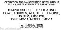 Davey Diesel 3MC11 Compressor Technical Manual Parts Breakdown