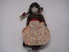 "Nos Vintage Beautiful Ceramic Doll Old Fashion Brown Dress 7"" Blonde Pigtails"
