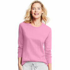 Hanes Women's 100 Cotton Long Sleeve Comfortable Crewneck T Shirt. O9133 Pink Swish M