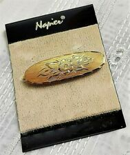 Jewel Vintage Brooch Signed Napier Metal Color Gold Pendant Cz Floral / G4