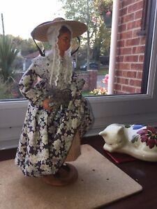 """Vintage Doll 12"""" Santon de Provence Terracotta Doll S.Jouglas Cutting Lavender"""